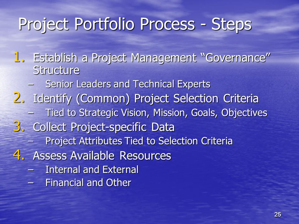 Project Portfolio Process - Steps