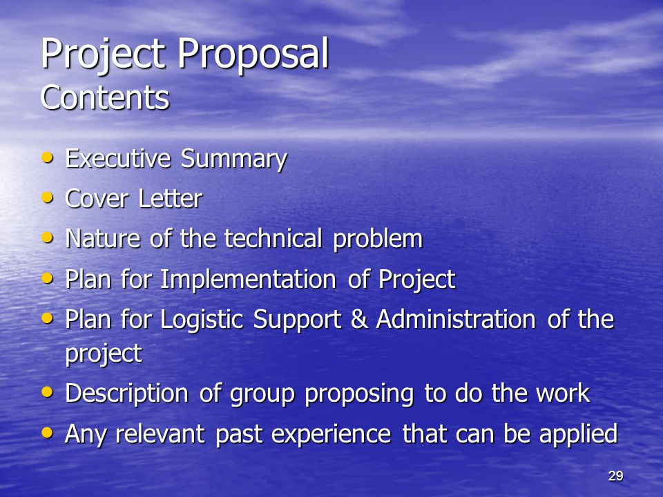 Project Proposal Contents