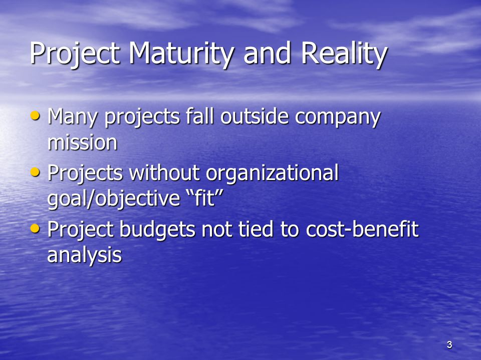 Project Maturity and Reality