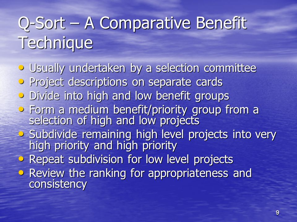 Q-Sort – A Comparative Benefit Technique