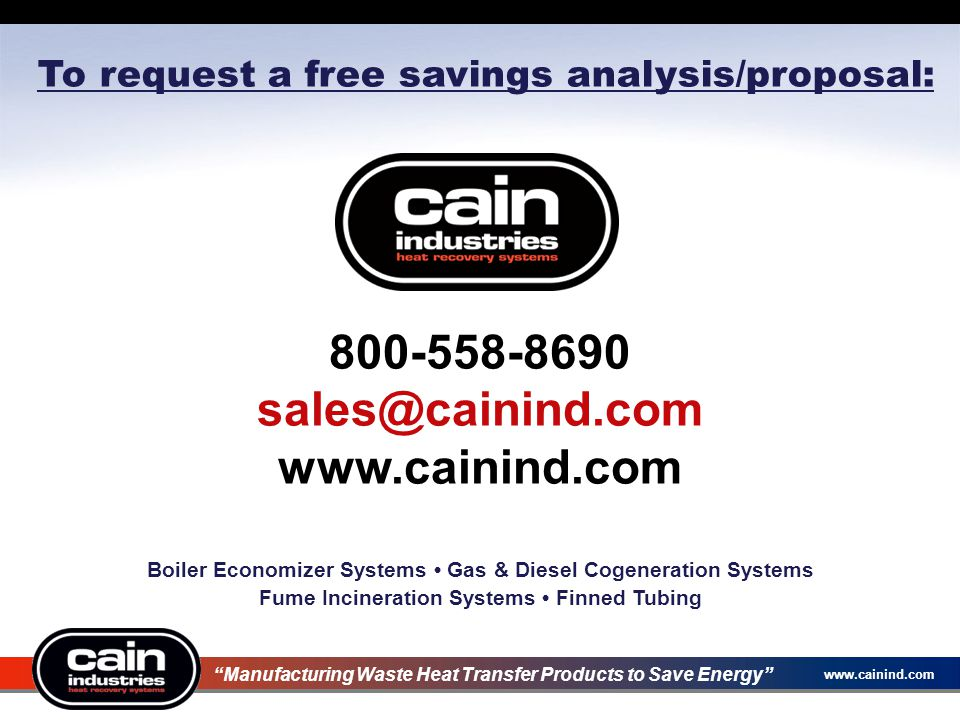 800-558-8690 sales@cainind.com www.cainind.com