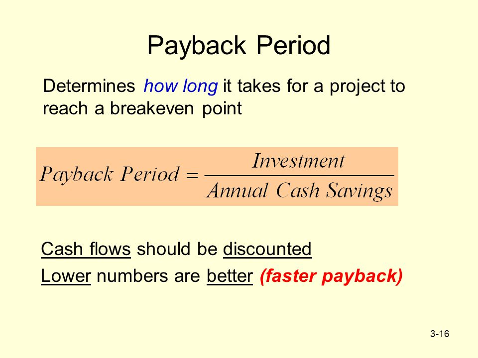 Payback Period Determines how long it takes for a project to reach a breakeven point. Cash flows should be discounted.