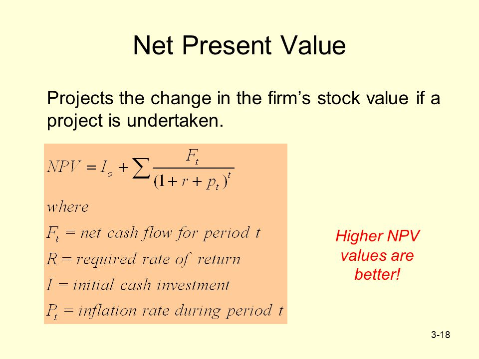 Higher NPV values are better!
