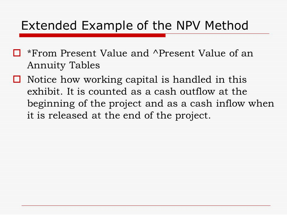 Extended Example of the NPV Method