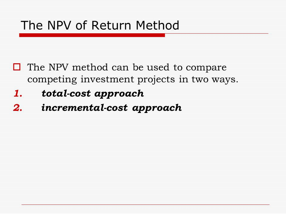 The NPV of Return Method