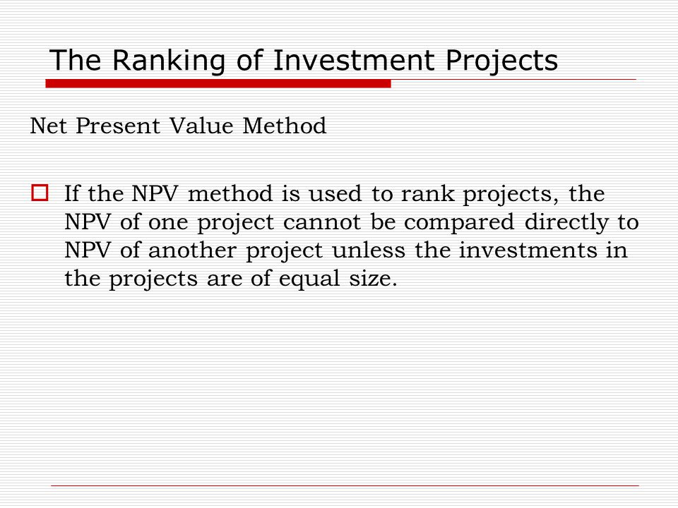 The Ranking of Investment Projects