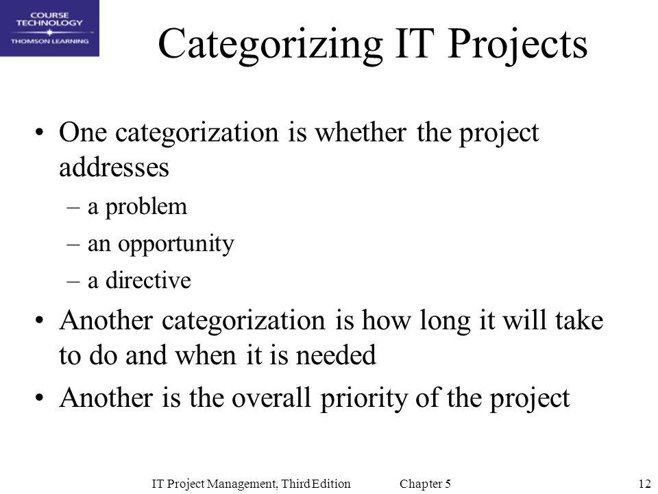 Categorizing IT Projects