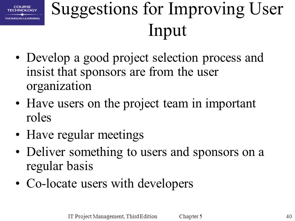 Suggestions for Improving User Input