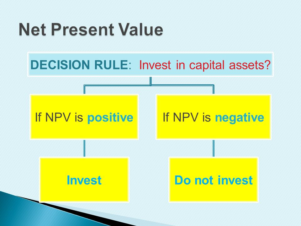 DECISION RULE: Invest in capital assets