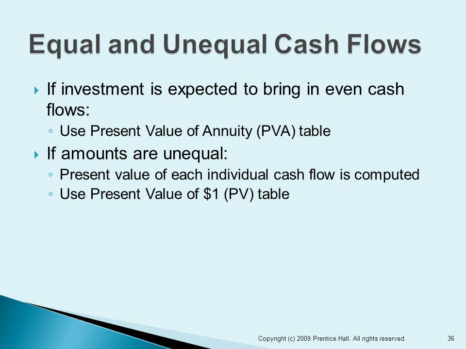 Equal and Unequal Cash Flows