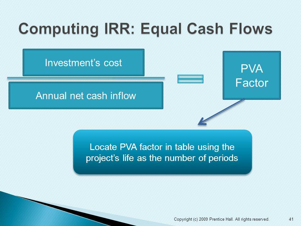 Computing IRR: Equal Cash Flows