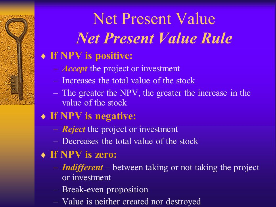 Net Present Value Net Present Value Rule