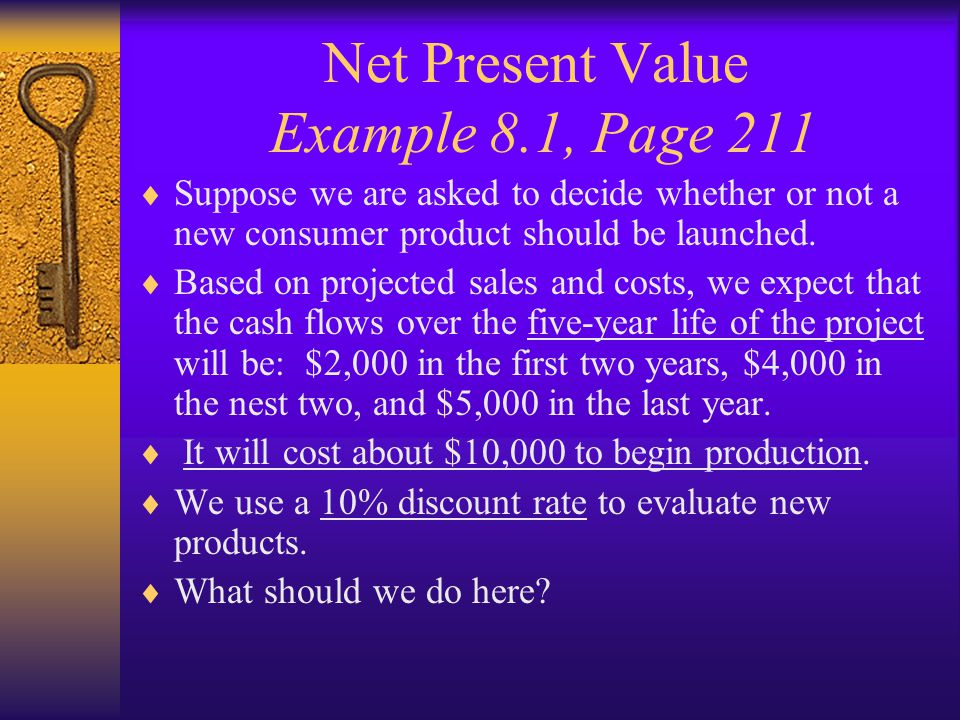 Net Present Value Example 8.1, Page 211