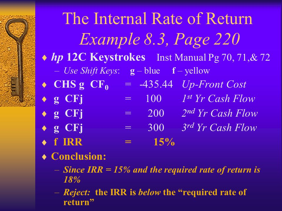 The Internal Rate of Return Example 8.3, Page 220