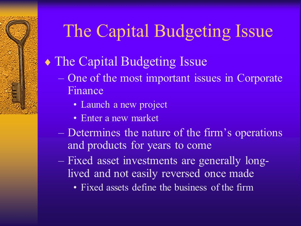 The Capital Budgeting Issue