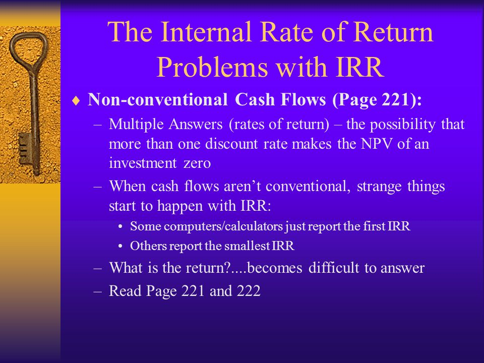 The Internal Rate of Return Problems with IRR