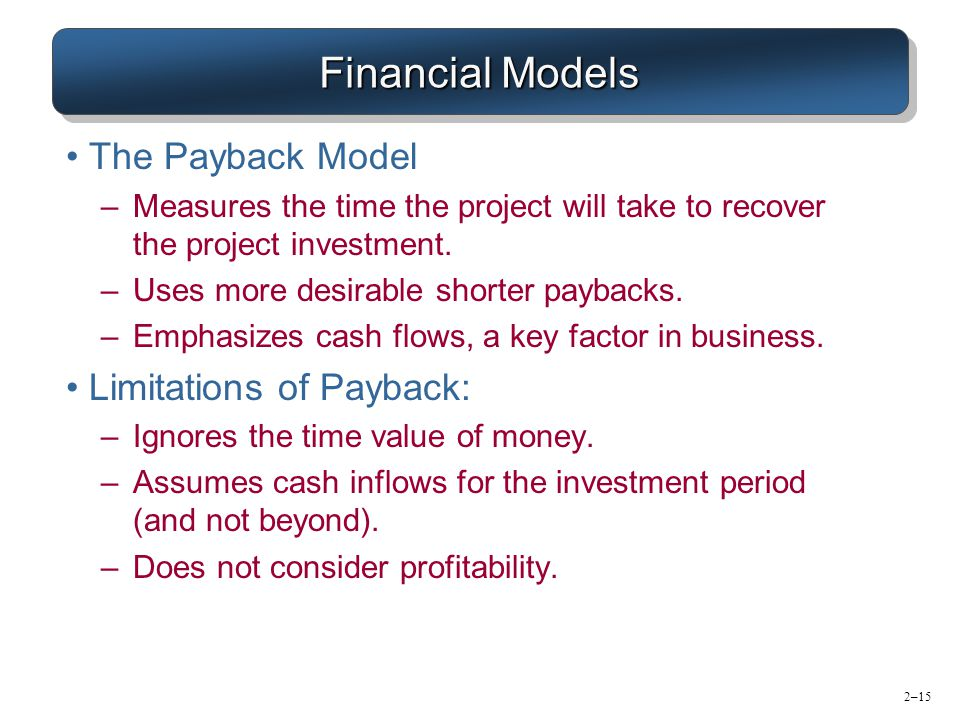 Financial Models The Payback Model Limitations of Payback: