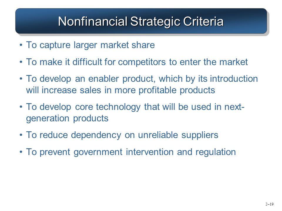 Nonfinancial Strategic Criteria