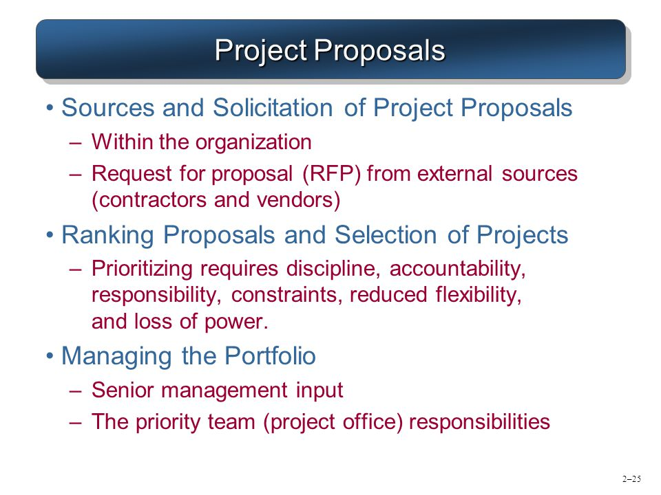 Project Proposals Sources and Solicitation of Project Proposals
