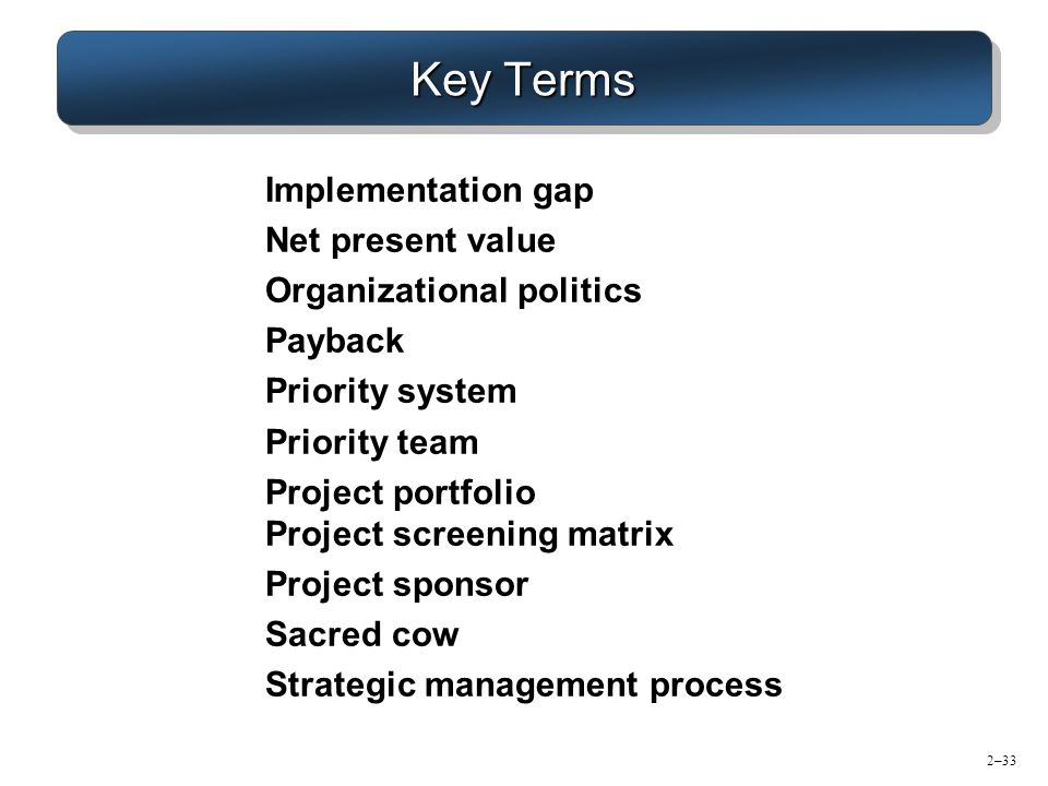 Key Terms Implementation gap Net present value Organizational politics