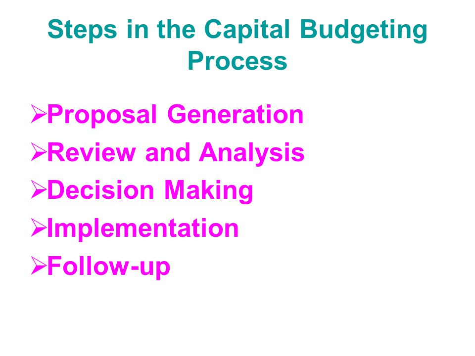 Steps in the Capital Budgeting Process