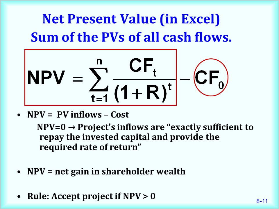 Net Present Value (in Excel) Sum of the PVs of all cash flows.
