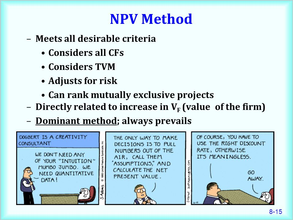 NPV Method Meets all desirable criteria Considers all CFs