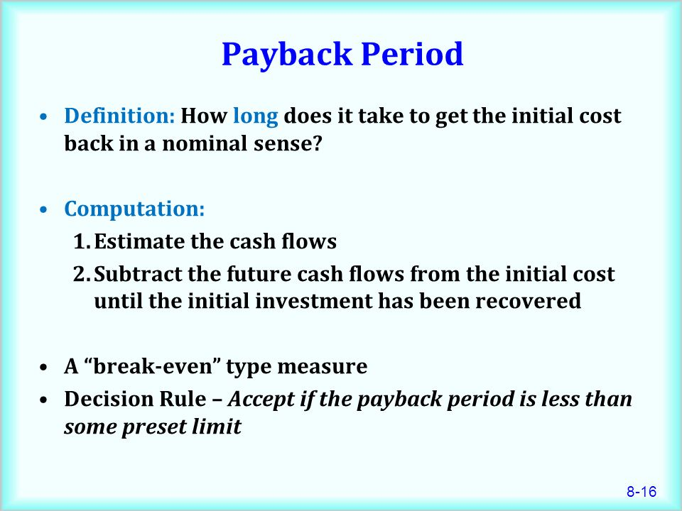 chapter 8 lecture net present value and other investment