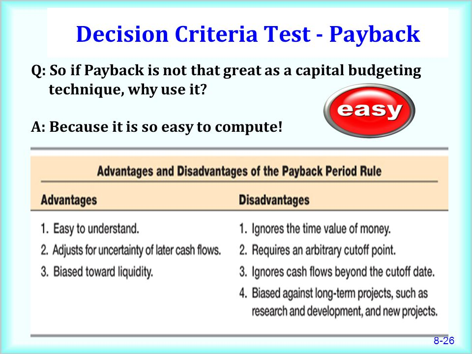 Decision Criteria Test - Payback