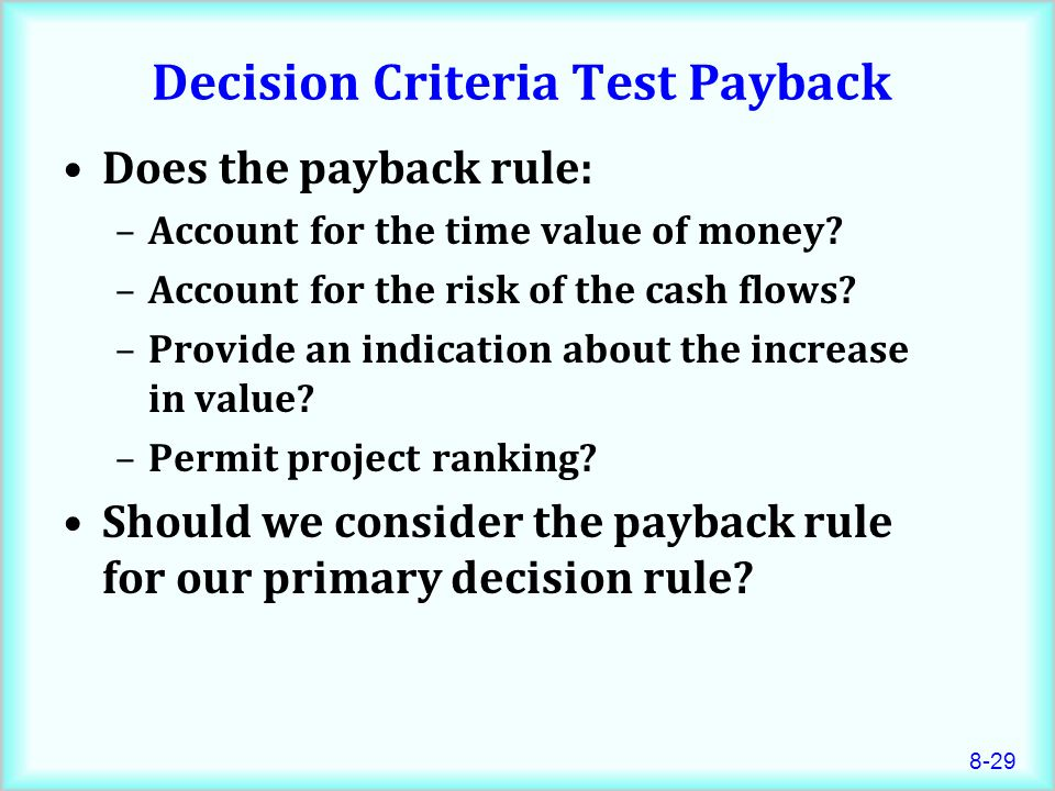 Decision Criteria Test Payback