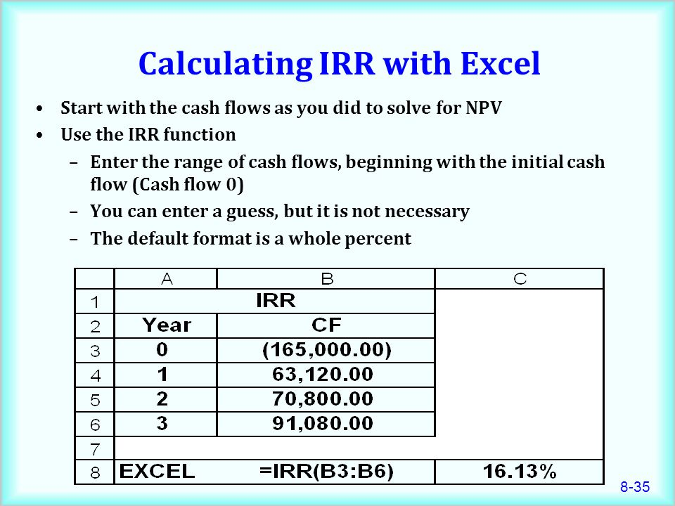 Calculating IRR with Excel