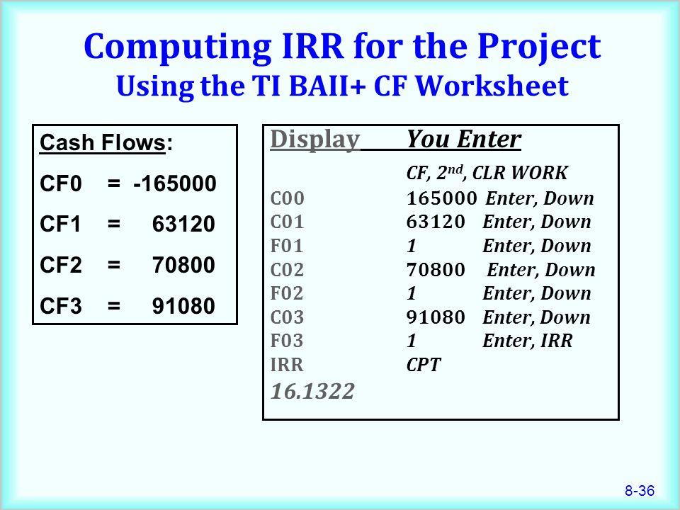 Computing IRR for the Project Using the TI BAII+ CF Worksheet