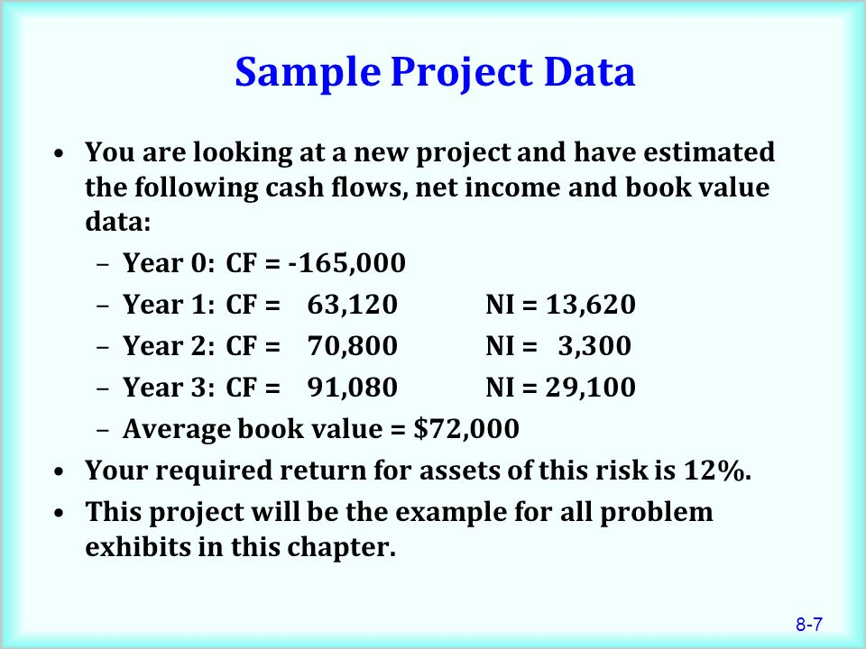 Sample Project Data You are looking at a new project and have estimated the following cash flows, net income and book value data: