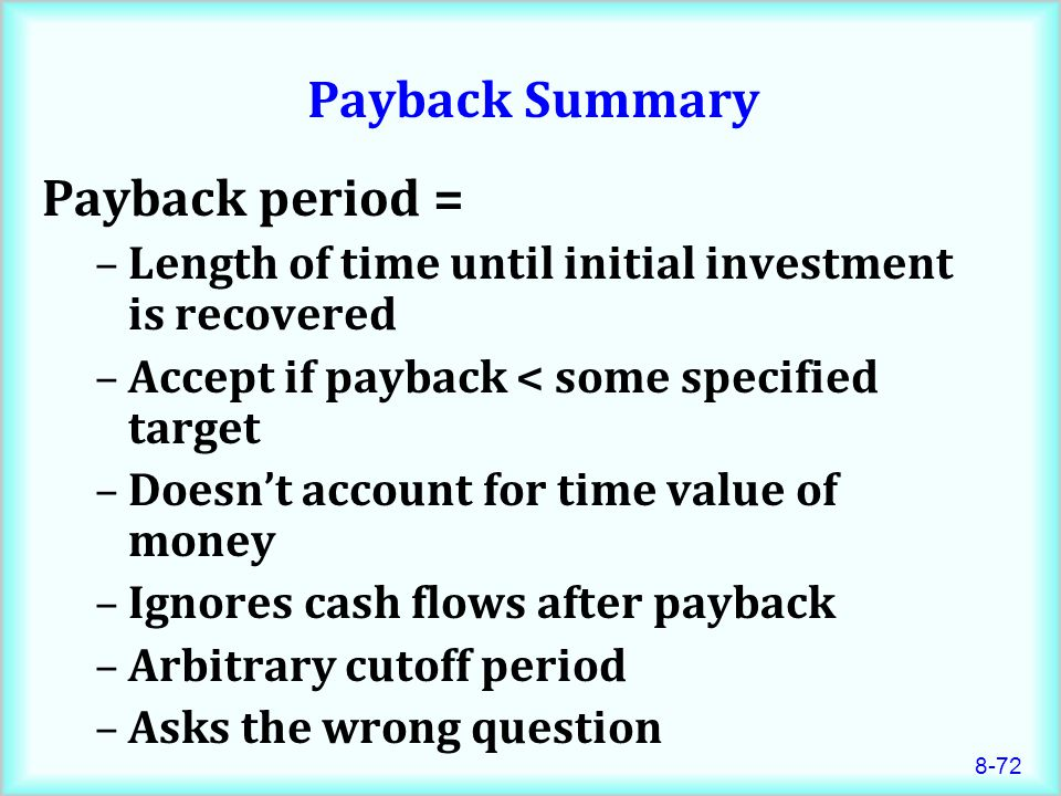 Payback Summary Payback period =