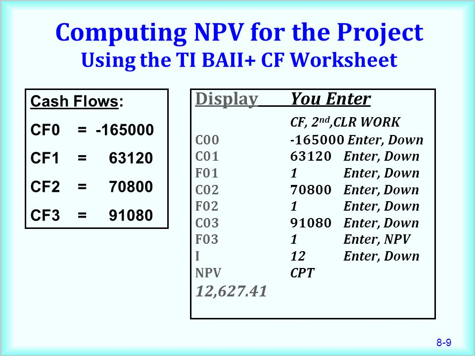 Computing NPV for the Project Using the TI BAII+ CF Worksheet