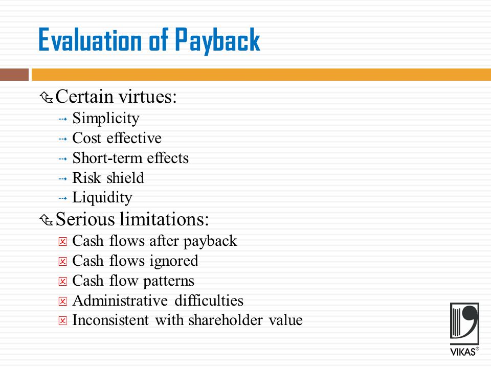 Evaluation of Payback Certain virtues: Serious limitations: Simplicity