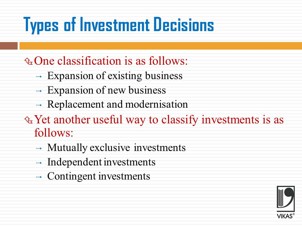 Types of Investment Decisions