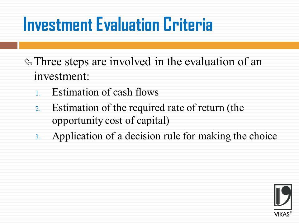 Investment Evaluation Criteria