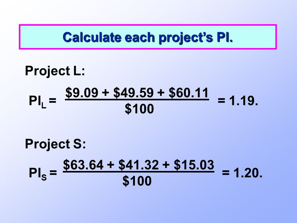 Calculate each project's PI.