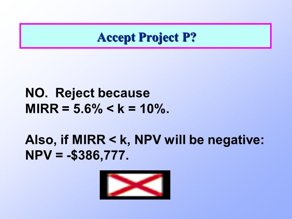 Accept Project P. NO. Reject because. MIRR = 5.6% < k = 10%.