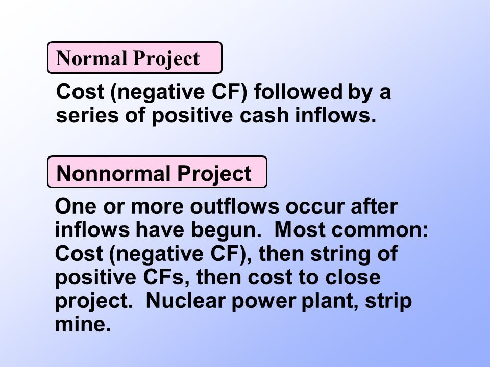 Normal Project Cost (negative CF) followed by a series of positive cash inflows. Nonnormal Project.
