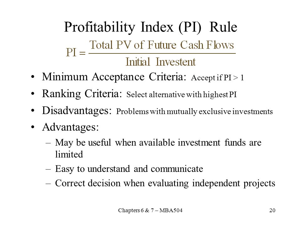 Profitability Index (PI) Rule