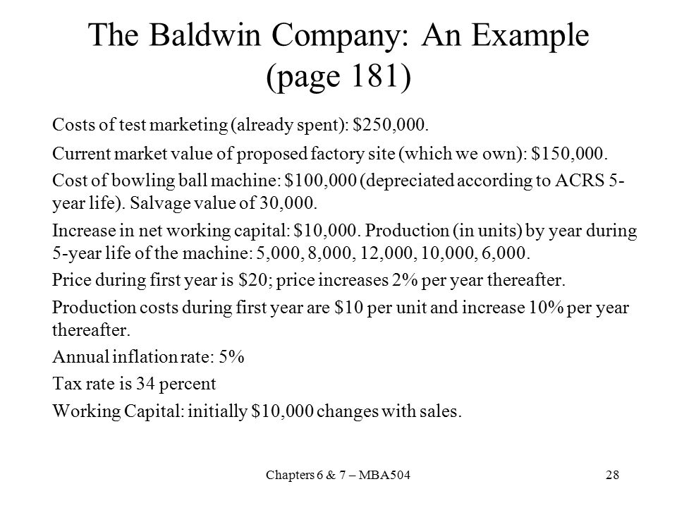 The Baldwin Company: An Example (page 181)