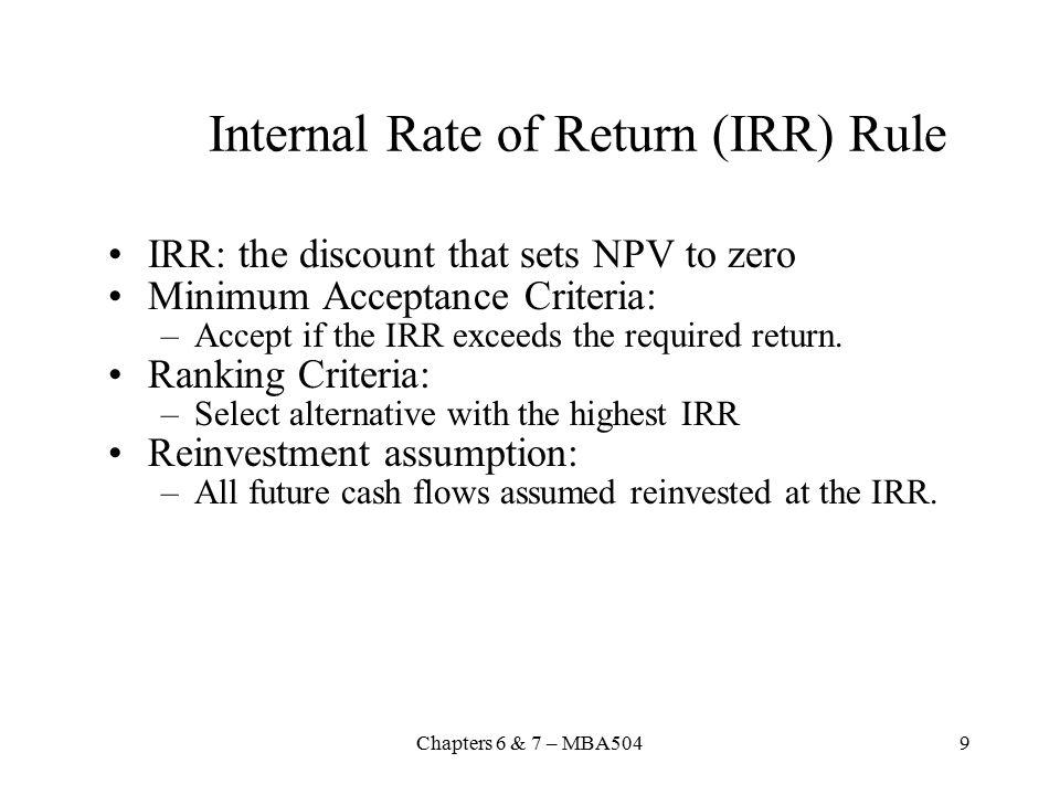 Internal Rate of Return (IRR) Rule