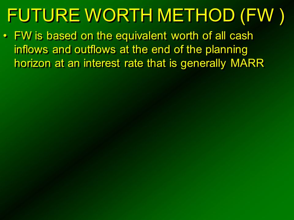 FUTURE WORTH METHOD (FW )