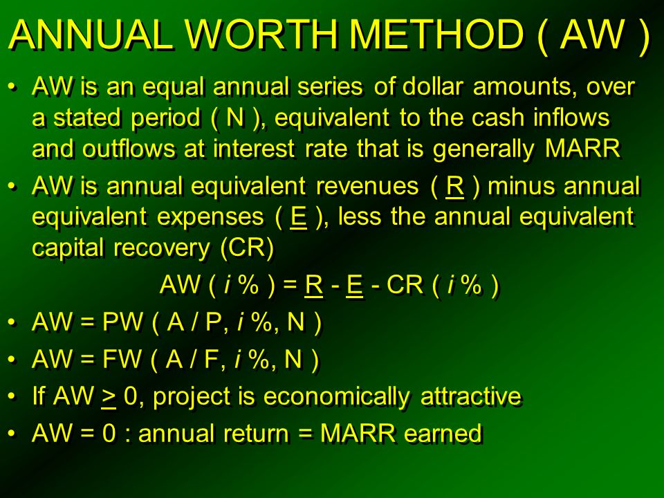 ANNUAL WORTH METHOD ( AW )