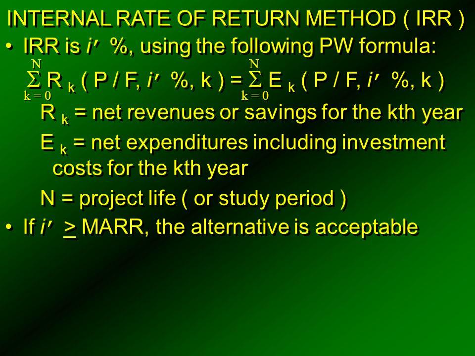  R k ( P / F, i' %, k ) =  E k ( P / F, i' %, k )