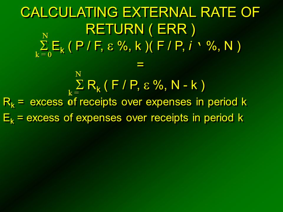 CALCULATING EXTERNAL RATE OF RETURN ( ERR )