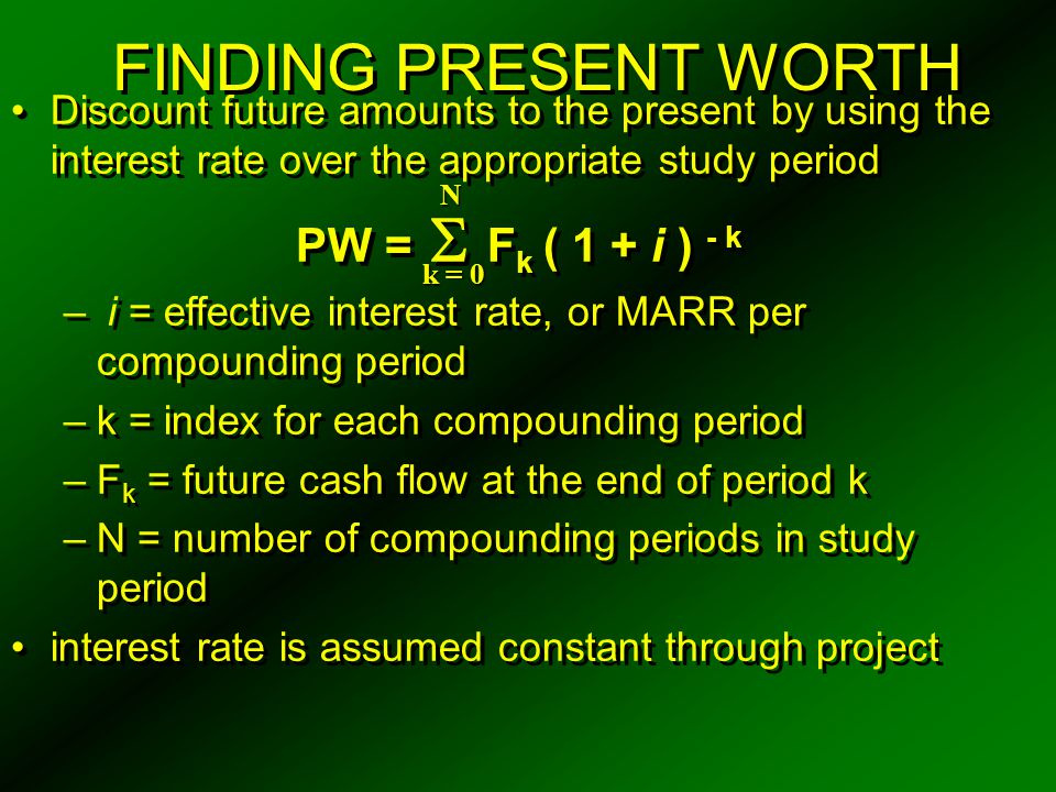 FINDING PRESENT WORTH PW = Fk ( 1 + i ) - k