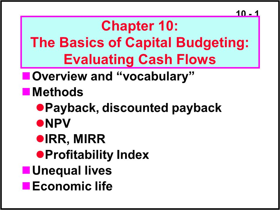 importance of payback method in capital
